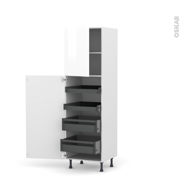 Colonne de cuisine N°2127 - Armoire de rangement - IRIS Blanc - 4 tiroirs à l'anglaise - L60 x H195 x P58 cm