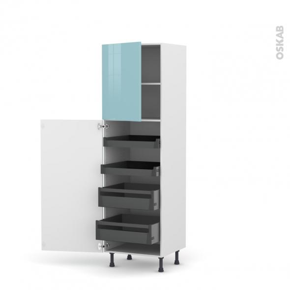Colonne de cuisine N°2127 - Armoire de rangement - KERIA Bleu - 4 tiroirs à l'anglaise - L60 x H195 x P58 cm