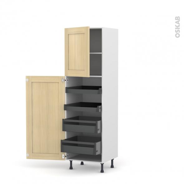 BASILIT Bois Vernis - Armoire rangement N°2127 - 4 tiroirs à l'anglaise  - L60xH195xP58