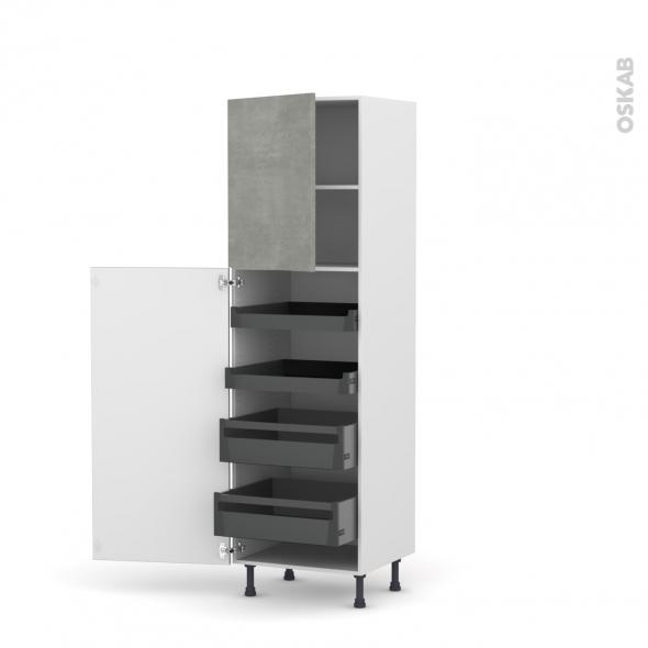 Colonne de cuisine N°2127 - Armoire de rangement - FAKTO Béton - 4 tiroirs à l'anglaise - L60 x H195 x P58 cm