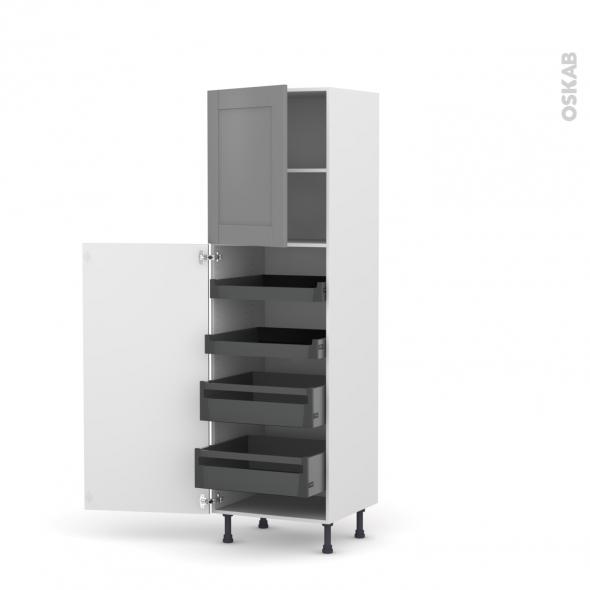Colonne de cuisine N°2127 - Armoire de rangement - FILIPEN Gris - 4 tiroirs à l'anglaise - L60 x H195 x P58 cm