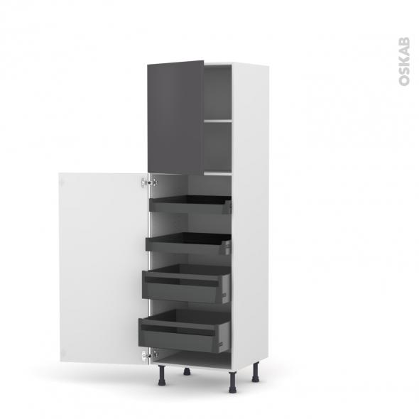 GINKO Gris - Armoire rangement N°2127 - 4 tiroirs à l'anglaise  - L60xH195xP58