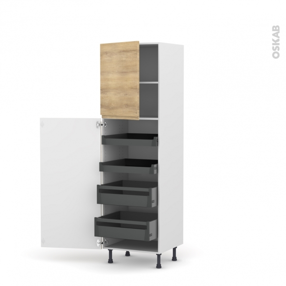 Colonne de cuisine N°2127 - Armoire de rangement - IPOMA Chêne naturel - 4 tiroirs à l'anglaise - L60 x H195 x P58 cm