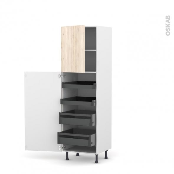 Colonne de cuisine N°2127 - Armoire de rangement - IKORO Chêne clair - 4 tiroirs à l'anglaise - L60 x H195 x P58 cm