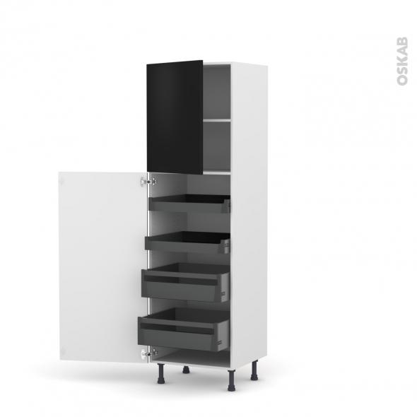 Colonne de cuisine N°2127 - Armoire de rangement - GINKO Noir - 4 tiroirs à l'anglaise - L60 x H195 x P58 cm