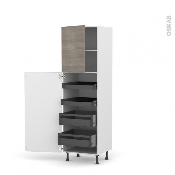 Colonne de cuisine N°2127 - Armoire de rangement - STILO Noyer Naturel - 4 tiroirs à l'anglaise - L60 x H195 x P58 cm
