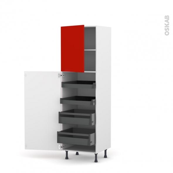 GINKO Rouge - Armoire rangement N°2127 - 4 tiroirs à l'anglaise  - L60xH195xP58