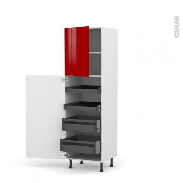 Colonne de cuisine N°2127 - Armoire de rangement - STECIA Rouge - 4 tiroirs à l'anglaise - L60 x H195 x P58 cm
