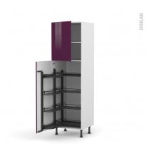 Colonne de cuisine N°2127 - Armoire de rangement - KERIA Aubergine - 8 paniers plateaux - L60 x H195 x P58 cm