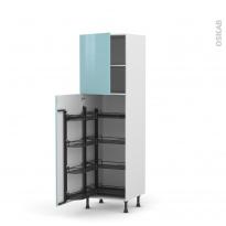 Colonne de cuisine N°2127 - Armoire de rangement - KERIA Bleu - 8 paniers plateaux - L60 x H195 x P58 cm