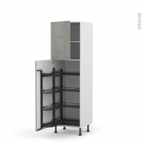 Colonne de cuisine N°27 - Armoire de rangement - FAKTO Béton - 8 paniers plateaux - L60 x H195 x P58 cm