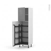 Colonne de cuisine N°27 - Armoire de rangement - FILIPEN Gris - 8 paniers plateaux - L60 x H195 x P58 cm