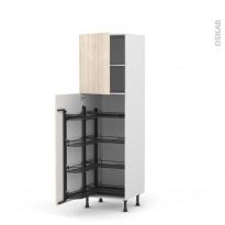 Colonne de cuisine N°27 - Armoire de rangement - IKORO Chêne clair - 8 paniers plateaux - L60 x H195 x P58 cm