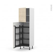 Colonne de cuisine N°2127 - Armoire de rangement - STILO Noyer Blanchi - 8 paniers plateaux - L60 x H195 x P58 cm