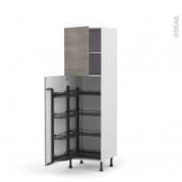 Colonne de cuisine N°2127 - Armoire de rangement - STILO Noyer Naturel - 8 paniers plateaux - L60 x H195 x P58 cm