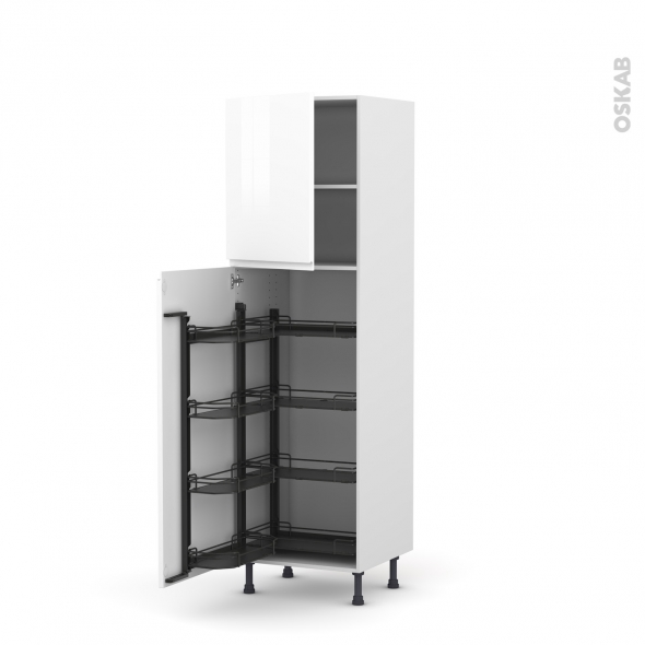 Colonne de cuisine N°2127 - Armoire de rangement - IPOMA Blanc - 8 paniers plateaux - L60 x H195 x P58 cm