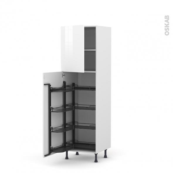 Colonne de cuisine N°2127 - Armoire de rangement - STECIA Blanc - 8 paniers plateaux - L60 x H195 x P58 cm