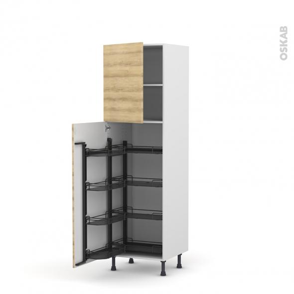 Colonne de cuisine N°27 - Armoire de rangement - HOSTA Chêne naturel - 8 paniers plateaux - L60 x H195 x P58 cm