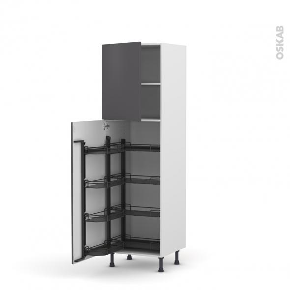 Colonne de cuisine N°2127 - Armoire de rangement - GINKO Gris - 8 paniers plateaux - L60 x H195 x P58 cm