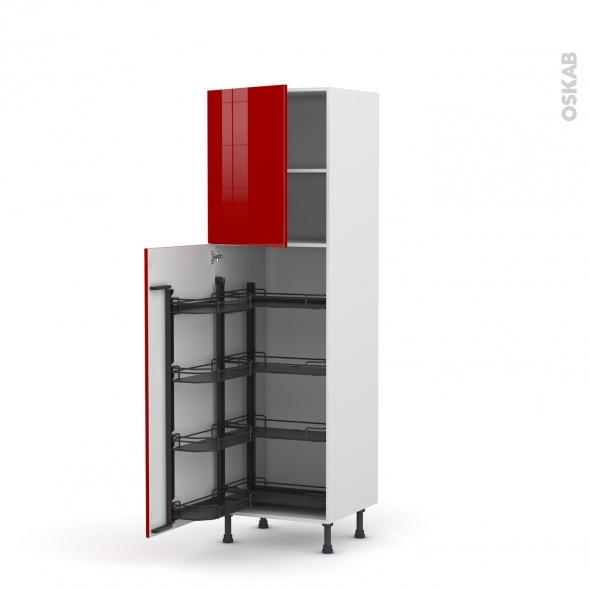Colonne de cuisine N°2127 - Armoire de rangement - STECIA Rouge - 8 paniers plateaux - L60 x H195 x P58 cm