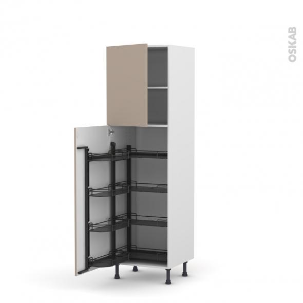 Colonne de cuisine N°2127 - Armoire de rangement ouvrante - GINKO Taupe - 8 paniers plateau - L60 x H195 x P58 cm