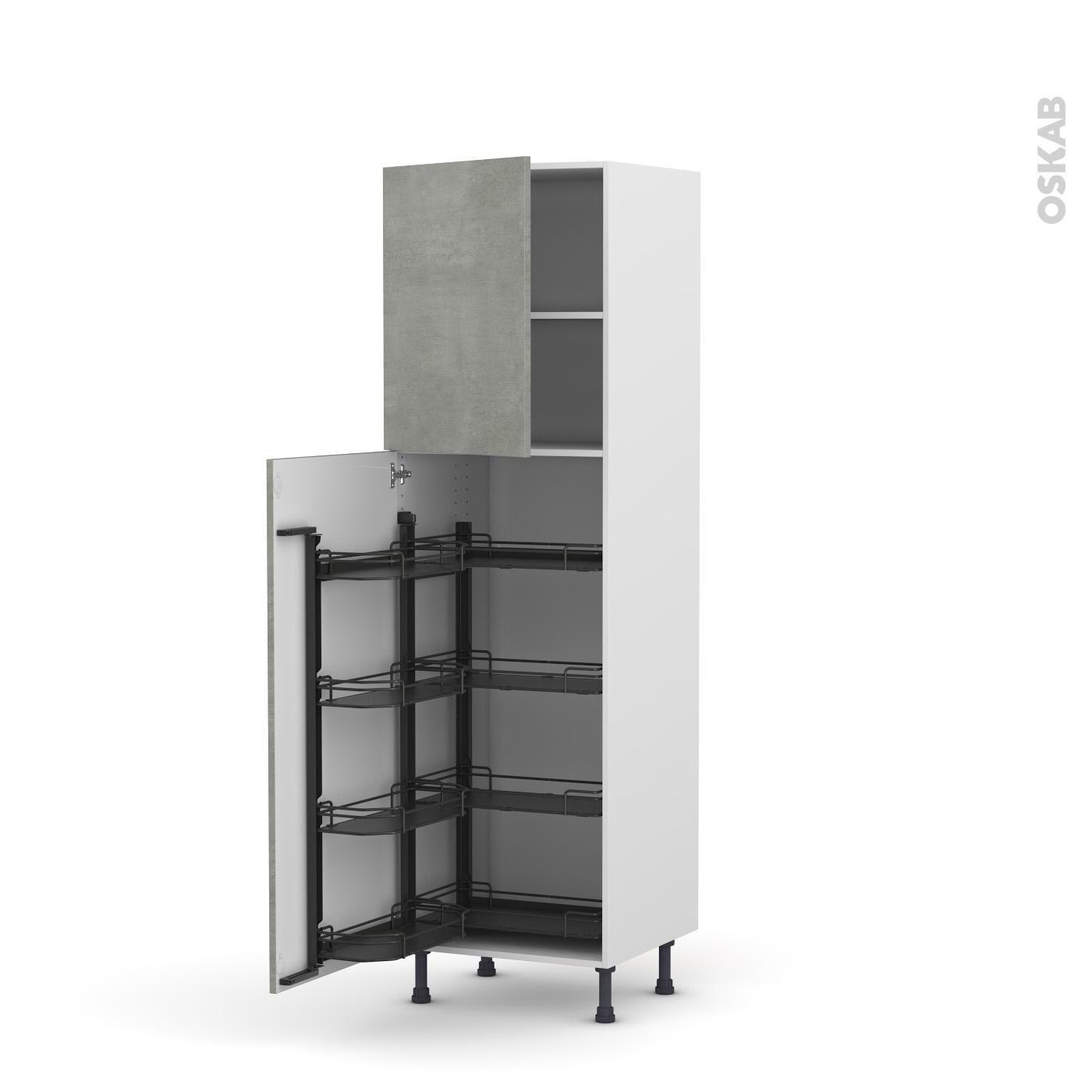 colonne de cuisine n°27 armoire de rangement fakto béton 8 paniers
