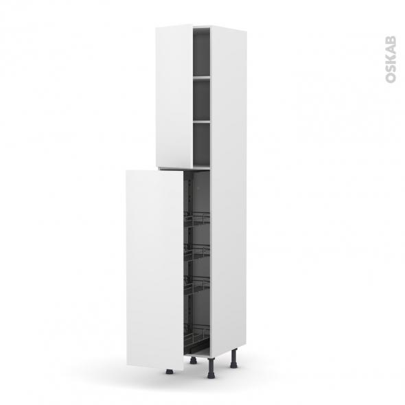 Colonne de cuisine N°2326 - Armoire de rangement - GINKO Blanc - 4 paniers plateaux - L40 x H217 x P58 cm