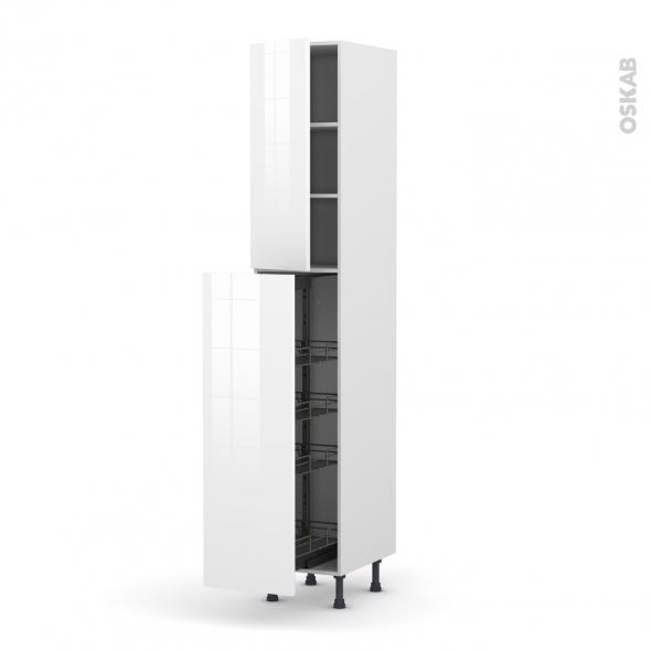 STECIA Blanc - Armoire rangement N°2326  - 4 paniers plateaux - L40xH217xP58