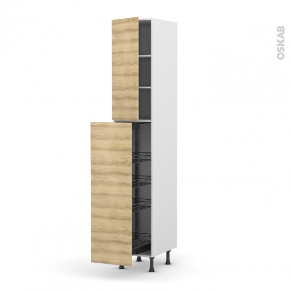 Colonne de cuisine N°26 - Armoire de rangement - HOSTA Chêne naturel - 4 paniers plateaux - L40 x H217 x P58 cm
