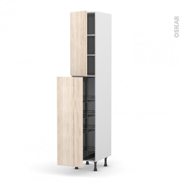 Colonne de cuisine N°26 - Armoire de rangement - IKORO Chêne clair - 4 paniers plateaux - L40 x H217 x P58 cm