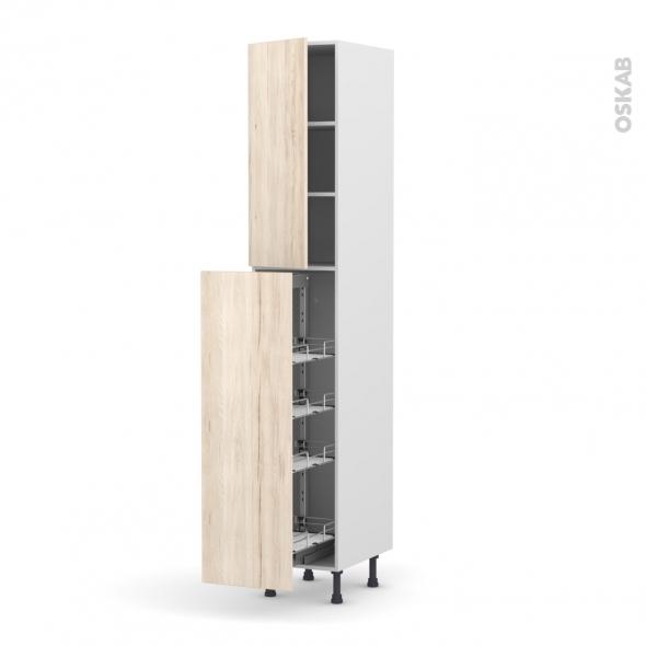 IKORO Chêne clair - Armoire rangement N°2326 - 4 tiroirs à l'anglaise - L40xH217xP58