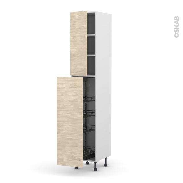 Colonne de cuisine N°2326 - Armoire de rangement - STILO Noyer Blanchi - 4 paniers plateaux - L40 x H217 x P58 cm