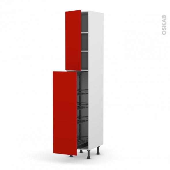 GINKO Rouge - Armoire rangement N°2326  - 4 paniers plateaux - L40xH217xP58