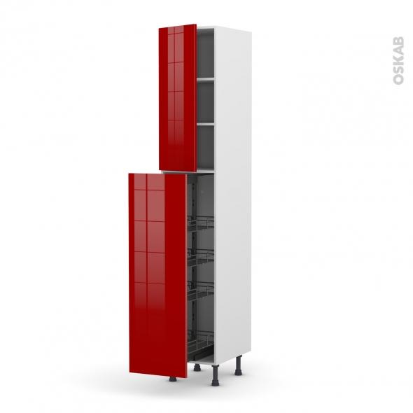 Colonne de cuisine N°2326 - Armoire de rangement - STECIA Rouge - 4 paniers plateaux - L40 x H217 x P58 cm