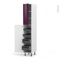 Colonne de cuisine N°2326 - Armoire de rangement - KERIA Aubergine - 4 tiroirs à l'anglaise - L40 x H217 x P58 cm