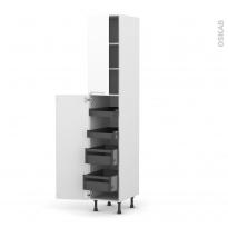 Colonne de cuisine N°2326 - Armoire de rangement - PIMA Blanc - 4 tiroirs à l'anglaise - L40 x H217 x P58 cm