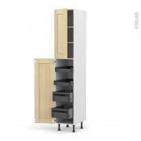 BASILIT Bois Vernis - Armoire rangement N°2326 - 4 tiroirs à l'anglaise - L40xH217xP58