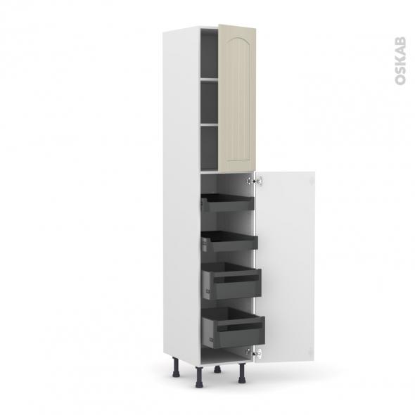 SILEN Argile - Armoire rangement N°2326 - 4 tiroirs à l'anglaise - L40xH217xP58 - droite