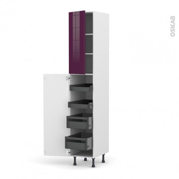 KERIA Aubergine - Armoire rangement N°2326 - 4 tiroirs à l'anglaise - L40xH217xP58