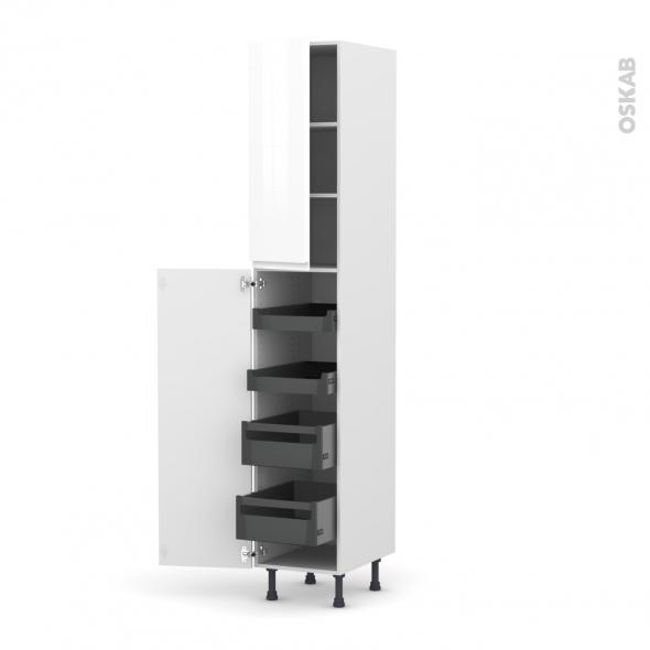 IPOMA Blanc - Armoire rangement N°2326 - 4 tiroirs à l'anglaise - L40xH217xP58
