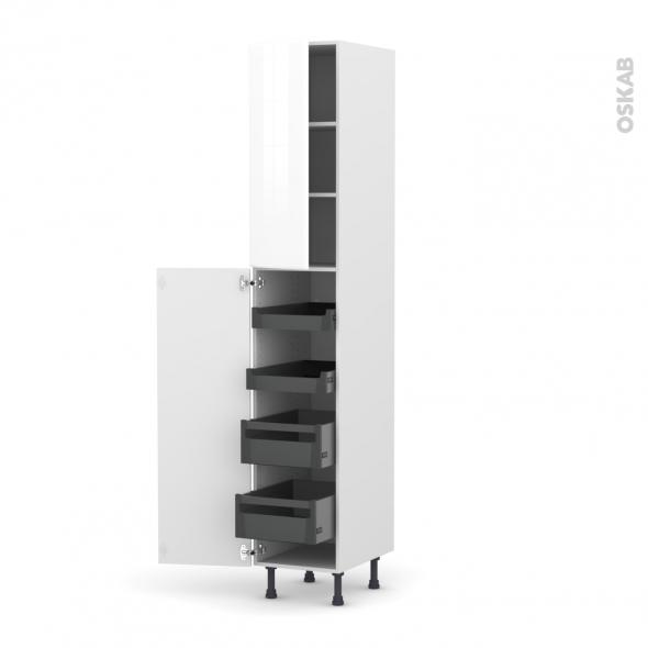 Colonne de cuisine N°2326 - Armoire de rangement - IRIS Blanc - 4 tiroirs à l'anglaise - L40 x H217 x P58 cm