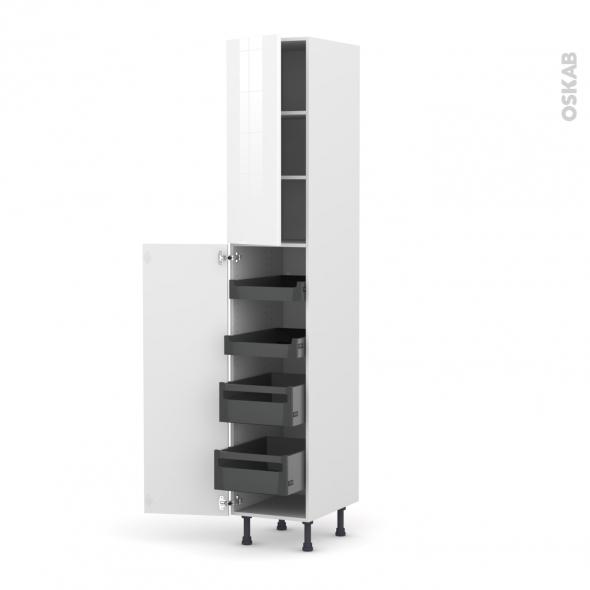 STECIA Blanc - Armoire rangement N°2326 - 4 tiroirs à l'anglaise - L40xH217xP58