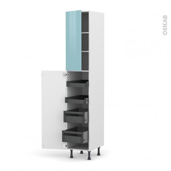 Colonne de cuisine N°2326 - Armoire de rangement - KERIA Bleu - 4 tiroirs à l'anglaise - L40 x H217 x P58 cm