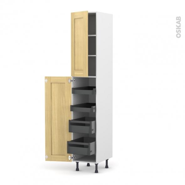 BASILIT Bois Brut - Armoire rangement N°2326 - 4 tiroirs à l'anglaise - L40xH217xP58