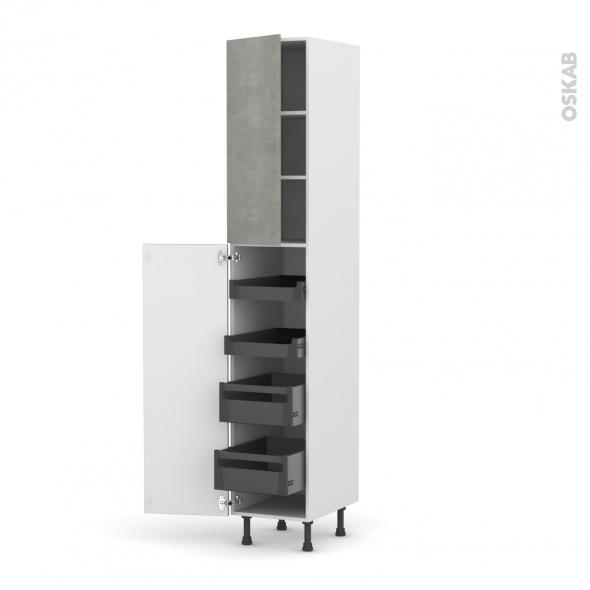 Colonne de cuisine N°2326 - Armoire de rangement - FAKTO Béton - 4 tiroirs à l'anglaise - L40 x H217 x P58 cm