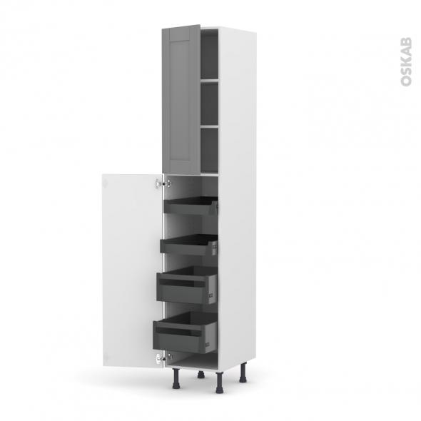 Colonne de cuisine N°2326 - Armoire de rangement - FILIPEN Gris - 4 tiroirs à l'anglaise - L40 x H217 x P58 cm