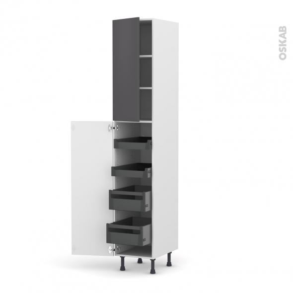 Colonne de cuisine N°2326 - Armoire de rangement - GINKO Gris - 4 tiroirs à l'anglaise - L40 x H217 x P58 cm