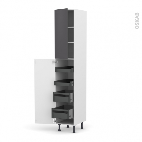GINKO Gris - Armoire rangement N°2326 - 4 tiroirs à l'anglaise - L40xH217xP58