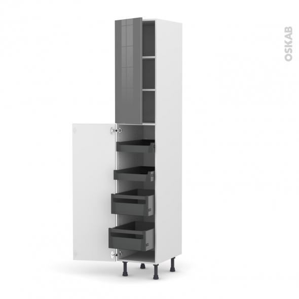 Colonne de cuisine N°2326 - Armoire de rangement - STECIA Gris - 4 tiroirs à l'anglaise - L40 x H217 x P58 cm