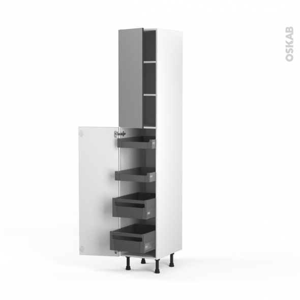 STILO Inox - Armoire rangement N°2326 - 4 tiroirs à l'anglaise - L40xH217xP58